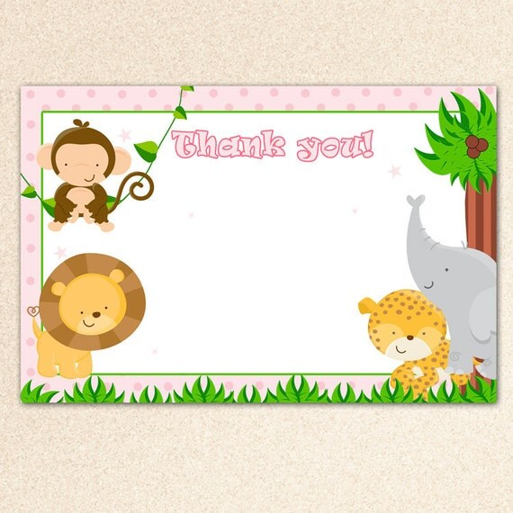 INSTANT DOWNLOAD - Jungle Animal Pink Blank Party Thank You Card - Baby Shower Thank You or Birthday Favor