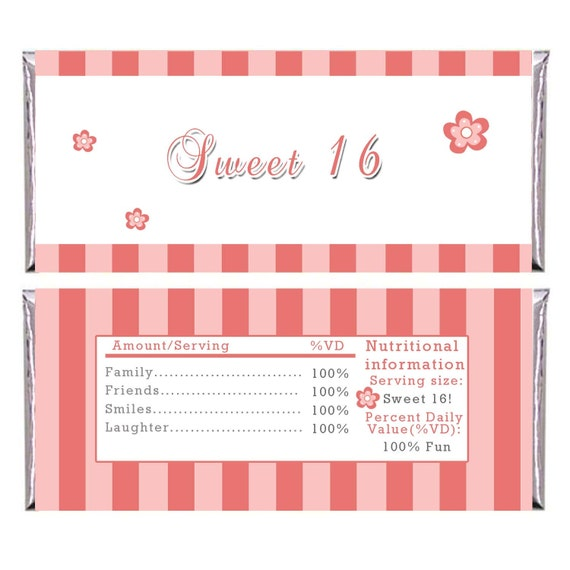 Personalized printable adult birthday candy bar wrapper for Personalized chocolate wrappers template