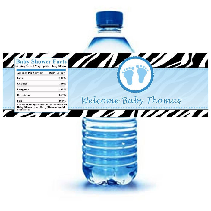 Printable Personalized Zebra Feets Water Bottle Labels