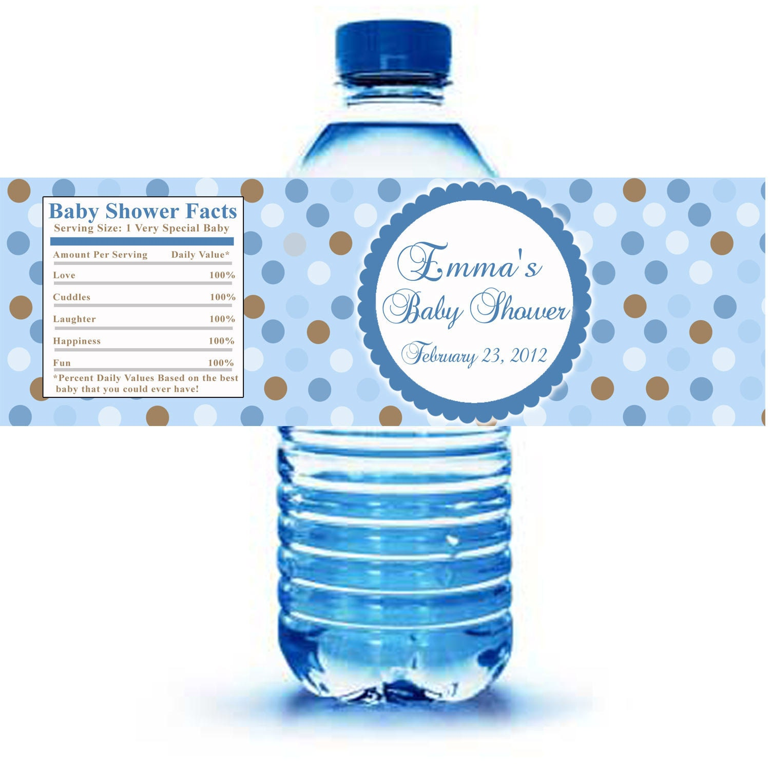 Water Bottle Name Tags: Printable Personalized With Name Blue Polka Dots Water Bottle
