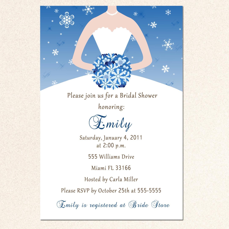 Winter Bridal Shower Invitation Card Snowflake Silver Blue