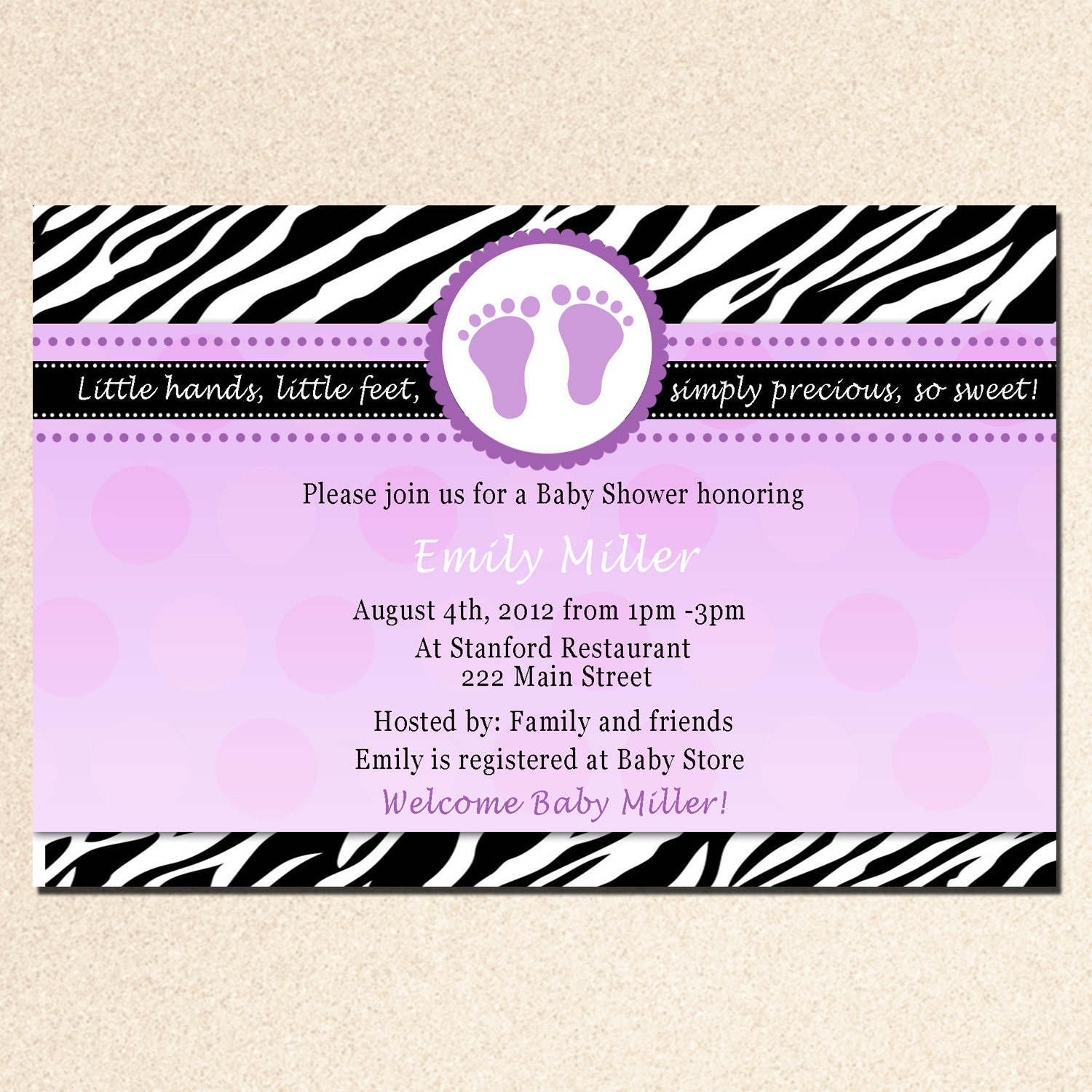 baby feet zebra baby shower invitation purple by pinkthecat
