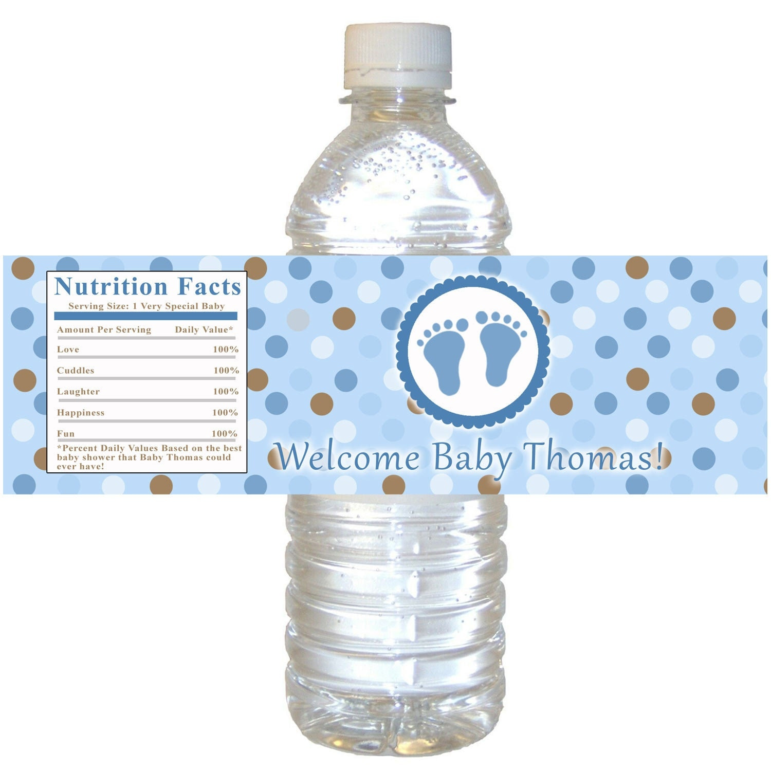 Printable personalized baby feet treads water bottle by for How to put labels on bottles