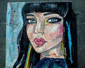 Original acrylic fashion painting on canvas - 'Blue Streak'