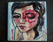 Original acrylic fashion painting on canvas - 'Face Paint'