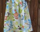Pillowcase Dress   Green, aqua blue, coral, teal, yellow size 6m through 7/8