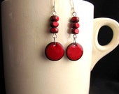 Red Enameled Copper Dangle Earrings with Sterling Silver and Glass Beads