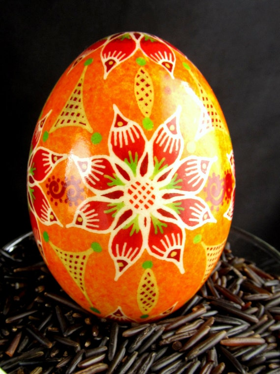 Ukrainian Easter Egg, Pysanka, duck egg hand blown and decorated red and orange