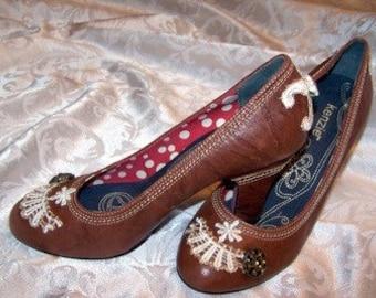 Caramel Brown Leather Hand-Embellished High Heels