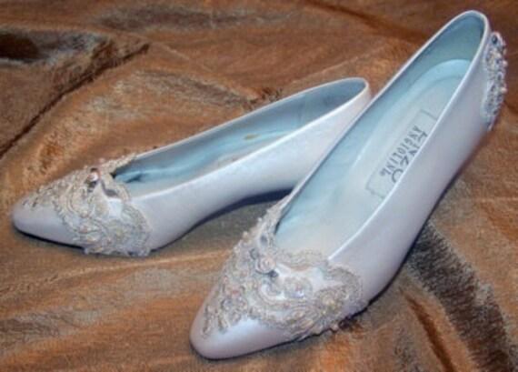 Ivory Beaded Lace Embellished Bridal Wedding Shoes Size 6