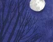 Watercolor: Super moon