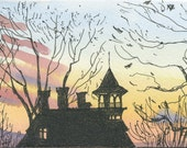 Watercolor: House at Sunset