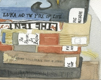 Watercolor Painting: Books on My Nightstand