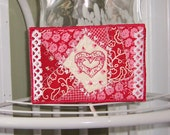 Embroidered Crazy Quilted Fabric Postcard Valentine  Hearts 4x6