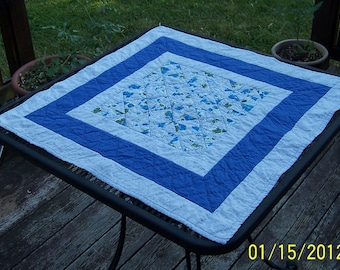 Quilted Table Topper Quilted Broken Dishes 25x25 inches