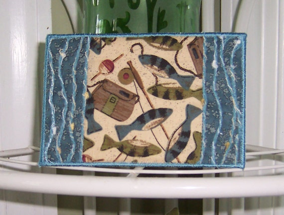 Embroidered Quilted Fabric Postcard Fisher King 4x6