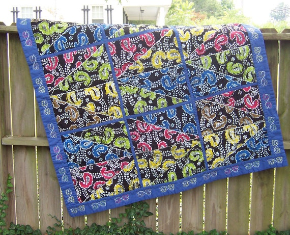 Crazy Quilt Batik Paisley and Flowers 55 x 60 inches