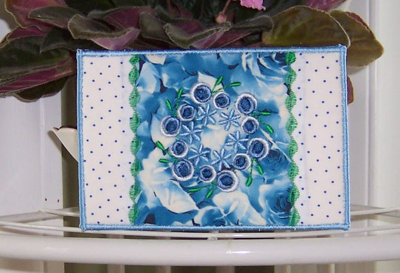 Fabric Postcard Embroidered Quilted Blue Flower Wreath 4x6 in