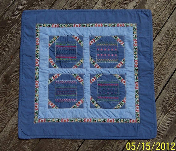 Quilted Embroidered Table Topper Sampler Stitches II appx 22x22 inches