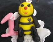 """3"""" Bumble bee cake topper with number"""