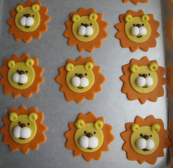 Items Similar To Lions Fondant Toppers For Cupcakes And