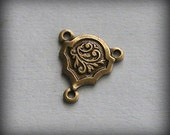 LuxeOrnaments Oxidized Brass Stampings 3 Ring Connectors (2 pcs) 13x12mm B309-VJS G-6166