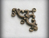 2 pc Heirloom Quality Ornate Oxidized Brass Stampings 3 Ring Connectors 24x16mm B220-VJS