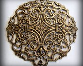 1 pc Heirloom Quality Oxidized Brassidized Filigree Large 83mm Focal T80-VJS