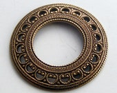 1 pc Heirloom Quality Ornate Oxidized Brass Domed Open Circle Frame C266X-VJS