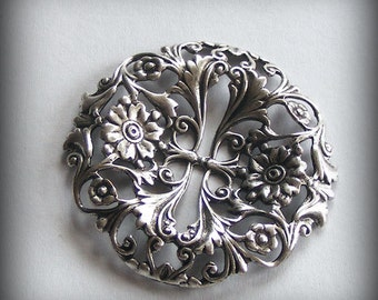 LuxeOrnaments Oxidized Sterling Silver Plated Filigree Focal 39mm Dapped Round (1 pc) S466X-VJS AT-6359