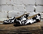 OOAK Hand Painted Black and White Damask Upcycled Vintage Selly Ladies Loafers, Fits Size 7 1/2- 8 1/2