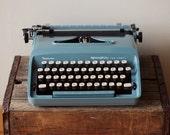 Cursive Remington Sperry Rand Blue Vintage Typewriter - Rare Script Font