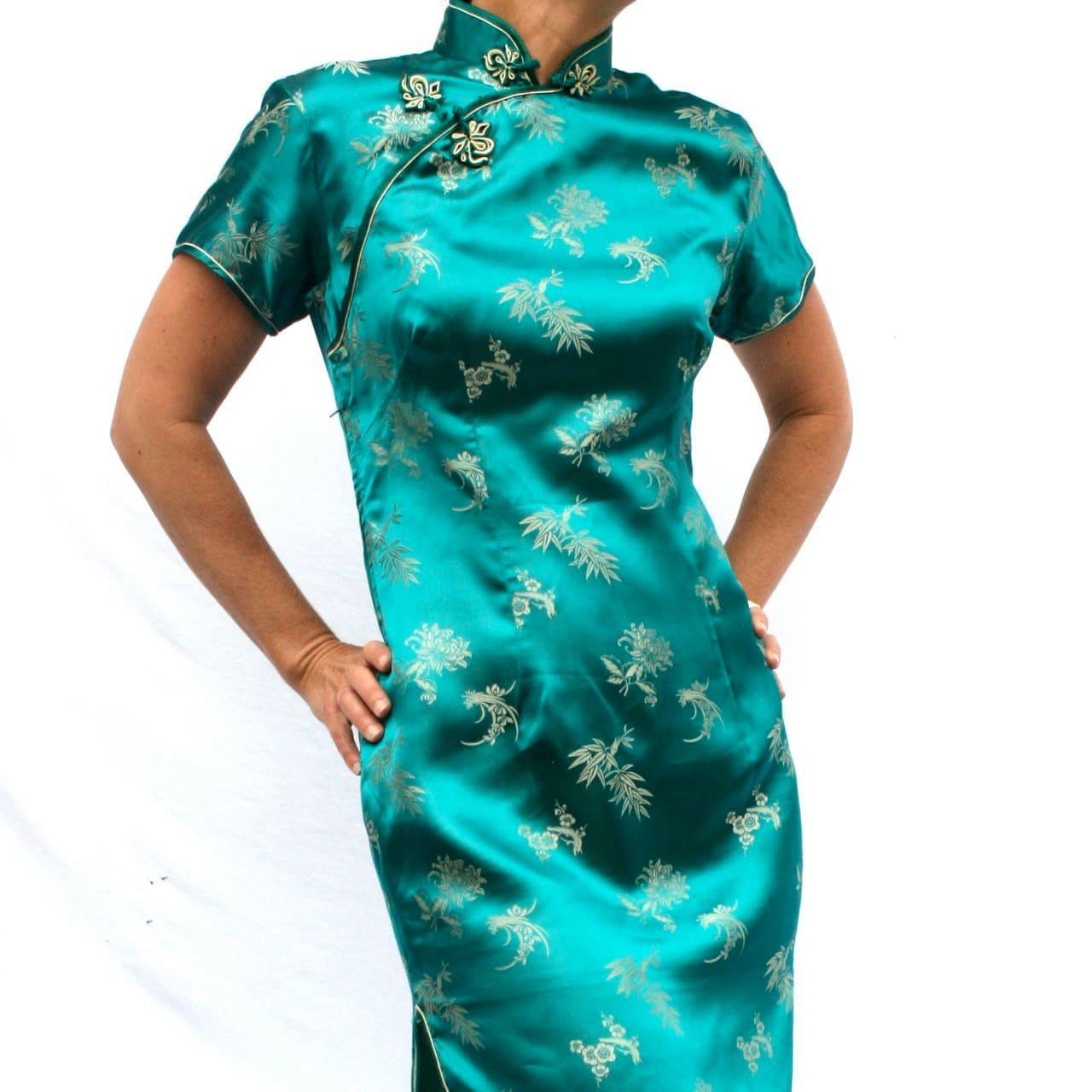 Cheongsam Dress Suzie Wong Green Wiggle Dress Vintage