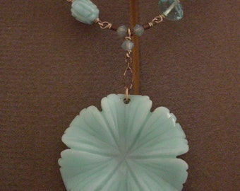 Delicate wire-wrapped light blue flower pendant necklace