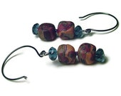 Polymer Clay Earrings, Brown Earrings with Square Beads and Blue Crystal Beads, Copper Earrings Multi Colored