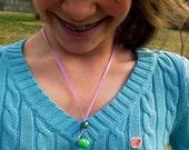 Best friend necklaces: polymer clay alien ribbon necklace set. 2 piece