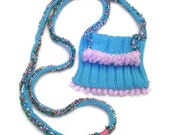 Amulet statement necklace, small purse, beaded amulet bag, ID holder