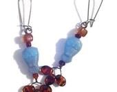 Glass Owl Earrings. Dangle Earrings. Light Blue and Brown Czech Glass Beaded Earrings