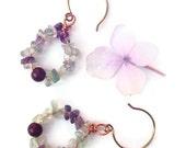 Flourite hoop earrings. copper earrings. healing stone dangle earrings. semi-precious gem earrings