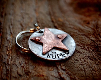 """Kuper  Custom Pet ID Tag, 1"""" riveted copper star"""