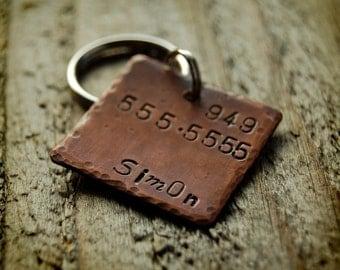 "Simon Custom Pet ID Tag, 1"" copper square"