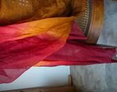 rich earthy tones chiffon silk shawl, throw, wrap, upcycled, fashionable, hippy, bohemian, gypsy, head wrap, turban, long neck scarf