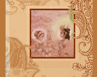Radha Krishna Goddess art archival print, weddings, bridal, art cards, henna art, line drawing india, yoga studios,meditation, home altar