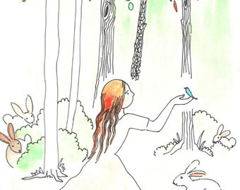 Never alone in the forest, wall art ,nursery art, animal love, woodlands,Original ink drawing