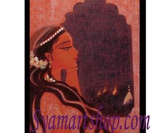 original art, baby showers, anniversary, pregnancy, indian princess, pencil drawing, art, art print, goddess art fiery  devotional art