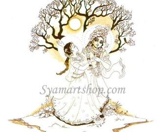 Romance valentine Eternal dance, devotional art, line drawing, full moon silloette, black and white couple dance,goddess, spring festival