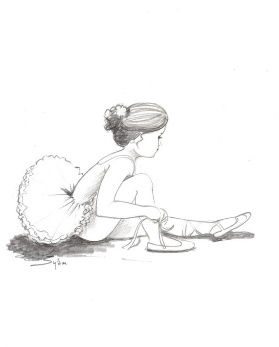 original drawing for sale The young ballerina. Pencil by ...