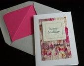 happy birthday greeting card, pastel, pink watercolor