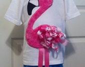 Funky Ribbon Flamingo Digital Embroidery Design