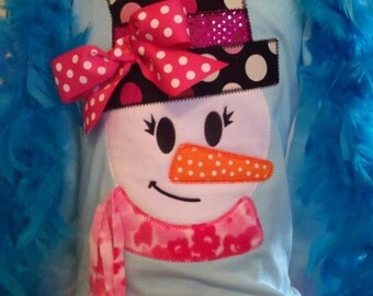 Funky Snowman Girl Machine Applique Design